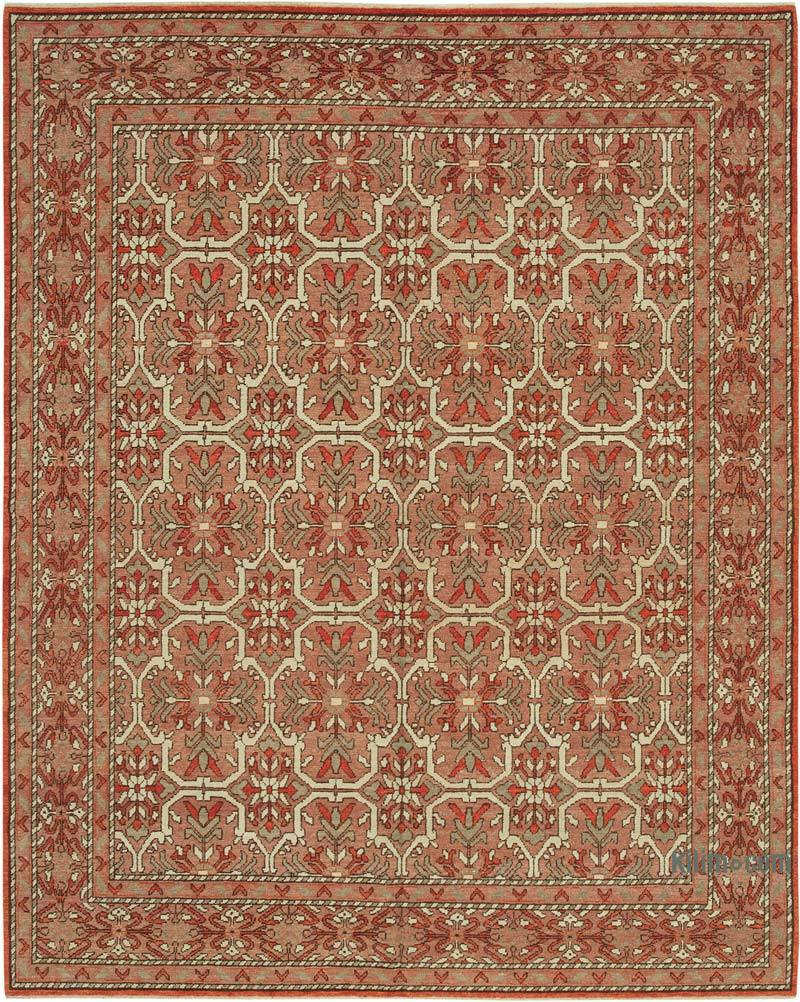 Red New Hand Knotted All Wool Oushak Rug - 7' 11# x 9' 11# (95 in. x 119 in.) - K0040548