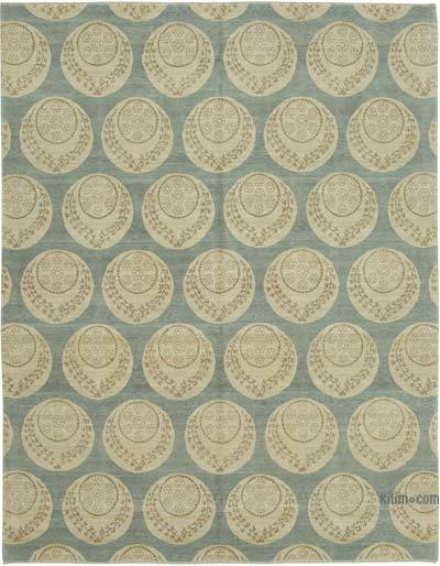 "Beige, Blue New Hand Knotted All Wool Oushak Rug - 8'  x 10' 2"" (96 in. x 122 in.)"