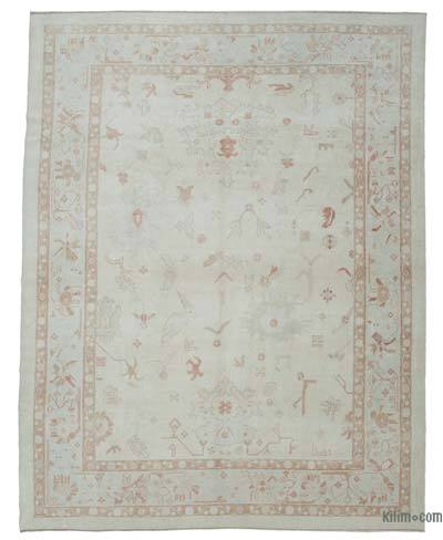 """New Hand Knotted All Wool Oushak Rug - 9' 4"""" x 11' 10"""" (112 in. x 142 in.)"""