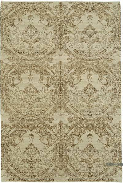 "Beige New Hand Knotted All Wool Oushak Rug - 6'  x 8' 11"" (72 in. x 107 in.)"