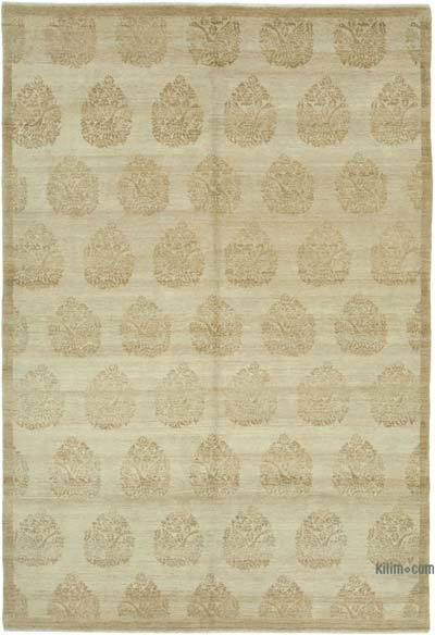 "Beige New Hand Knotted All Wool Oushak Rug - 5' 11"" x 8' 7"" (71 in. x 103 in.)"