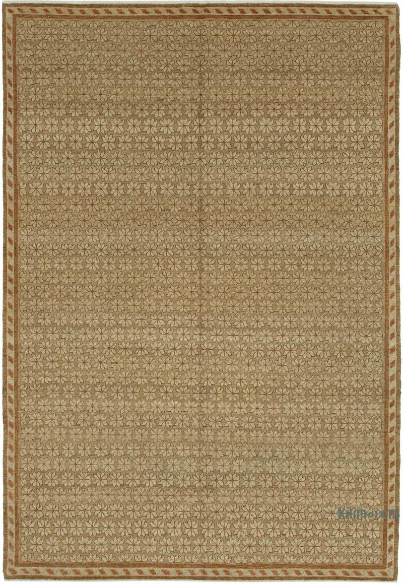 Brown New Hand Knotted All Wool Oushak Rug - 6' 3# x 8' 11# (75 in. x 107 in.) - K0040592