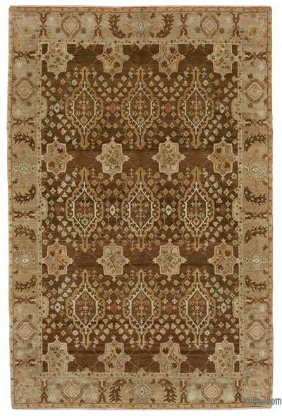 """Beige, Brown New Hand Knotted All Wool Oushak Rug - 5' 11"""" x 8' 11"""" (71 in. x 107 in.)"""