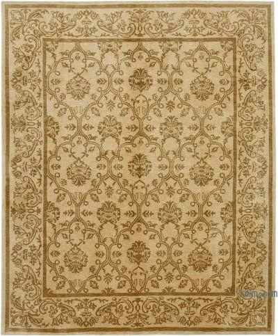 """Beige New Hand Knotted All Wool Oushak Rug - 8' 2"""" x 10' 1"""" (98 in. x 121 in.)"""