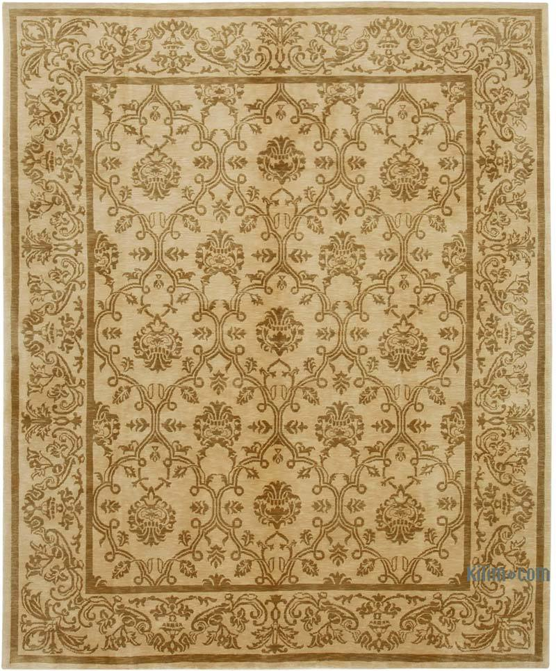 """Beige New Hand Knotted Wool Oushak Rug - 8' 2"""" x 10' 1"""" (98 in. x 121 in.) - K0040610"""