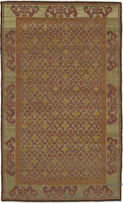 """Green, Purple New Hand Knotted Wool Oushak Rug - 6'  x 9' 11"""" (72 in. x 119 in.)"""
