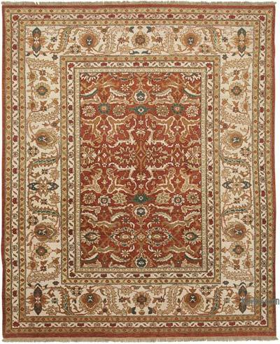 "Red, Beige New Hand Knotted All Wool Oushak Rug - 8' 11"" x 11' 3"" (107 in. x 135 in.)"