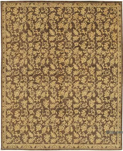 "Brown New Hand Knotted All Wool Oushak Rug - 8'  x 9' 8"" (96 in. x 116 in.)"