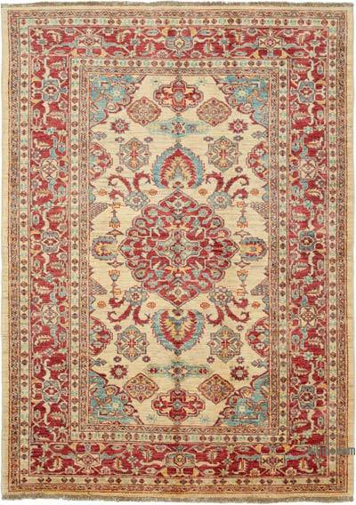 "Red New Hand Knotted All Wool Oushak Rug - 5' 7"" x 7' 7"" (67 in. x 91 in.)"
