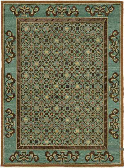 """Brown New Hand Knotted Wool Oushak Rug - 6'  x 8' 1"""" (72 in. x 97 in.)"""