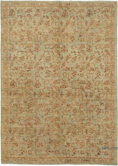 "Brown, Green New Hand Knotted All Wool Oushak Rug - 6' 3"" x 8' 6"" (75 in. x 102 in.)"