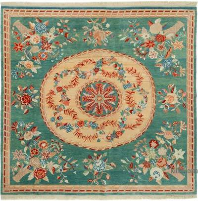 """New Hand Knotted All Wool Oushak Rug - 6'11"""" x 6'7"""" (83 in. x 79 in.)"""