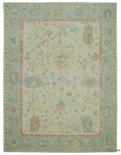 "New Hand Knotted All Wool Oushak Rug - 10' 10"" x 14' 4"" (130 in. x 172 in.)"