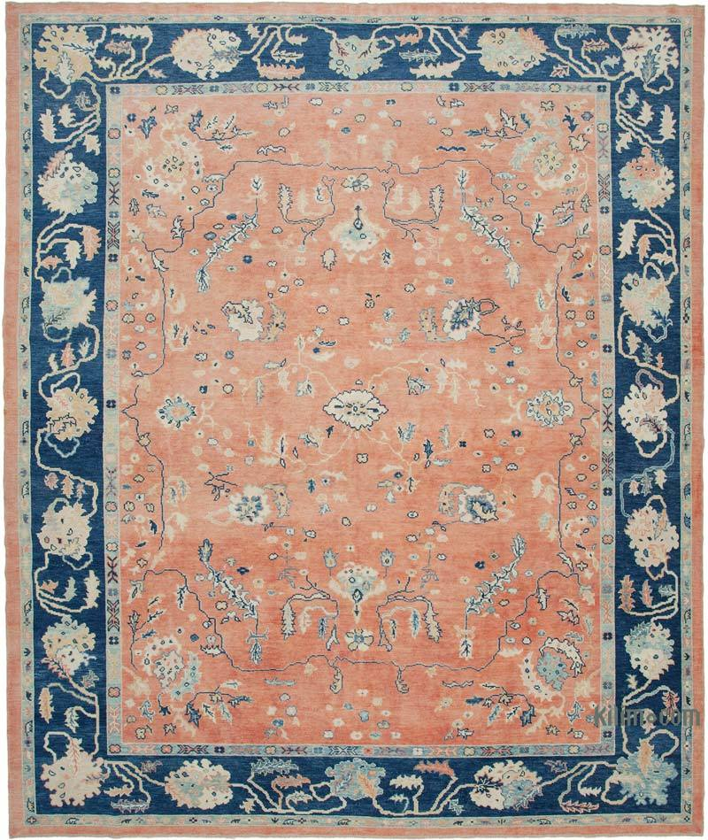 """New Hand Knotted Wool Oushak Rug - 11' 3"""" x 13' 8"""" (135 in. x 164 in.) - K0040949"""