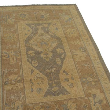 """Yellow New Hand Knotted Wool Oushak Rug - 3' 7"""" x 5' 9"""" (43 in. x 69 in.) - K0040968"""