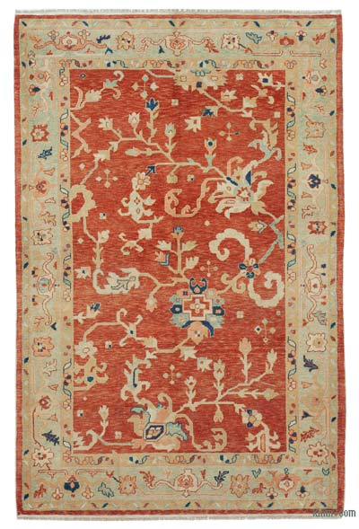 "New Hand Knotted All Wool Oushak Rug - 4' 4"" x 6' 6"" (52 in. x 78 in.)"