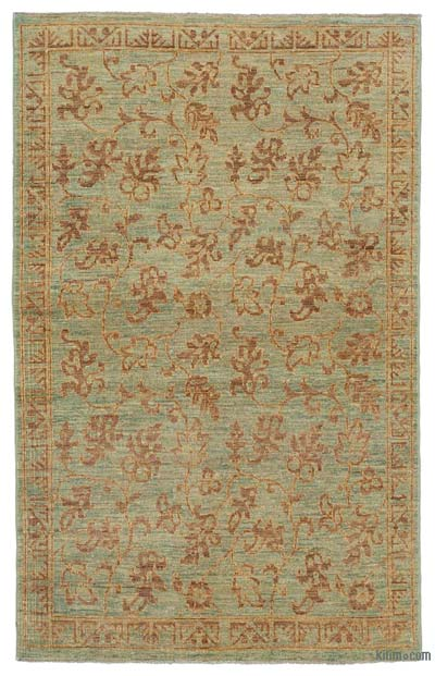 """Green New Hand Knotted Wool Oushak Rug - 3' 7"""" x 5' 10"""" (43 in. x 70 in.)"""