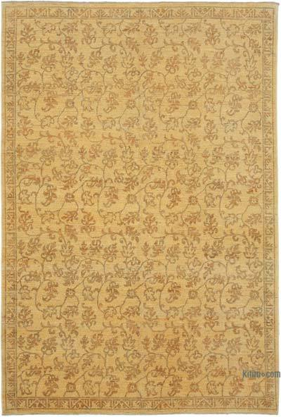 "Yellow New Hand Knotted All Wool Oushak Rug - 5' 10"" x 8' 7"" (70 in. x 103 in.)"
