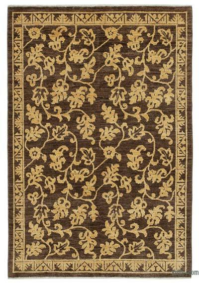 """Brown New Hand Knotted Wool Oushak Rug - 3' 11"""" x 5' 11"""" (47 in. x 71 in.)"""