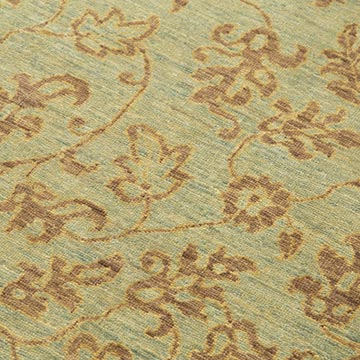 """Green New Hand Knotted Wool Oushak Rug - 3' 10"""" x 5' 7"""" (46 in. x 67 in.) - K0040981"""