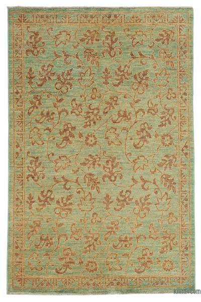 """Green New Hand Knotted All Wool Oushak Rug - 3' 10"""" x 5' 7"""" (46 in. x 67 in.)"""