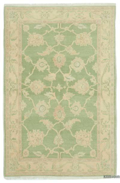 """Green New Hand Knotted Wool Oushak Rug - 3' 11"""" x 6'  (47 in. x 72 in.)"""