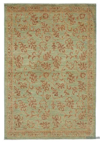 """Green New Hand Knotted All Wool Oushak Rug - 3' 10"""" x 5' 8"""" (46 in. x 68 in.)"""