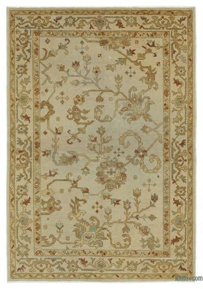 """Beige New Hand Knotted All Wool Oushak Rug - 4' 2"""" x 6'  (50 in. x 72 in.)"""