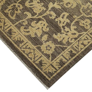 """Brown, Yellow New Hand Knotted Wool Oushak Rug - 4'  x 5' 11"""" (48 in. x 71 in.) - K0041003"""