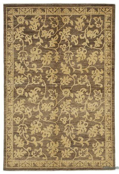 "Brown, Yellow New Hand Knotted All Wool Oushak Rug - 4'  x 5' 11"" (48 in. x 71 in.)"