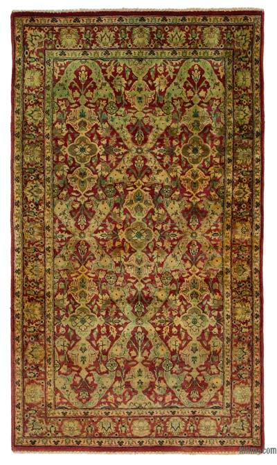 "Red New Hand Knotted All Wool Oushak Rug - 2' 11"" x 5' 1"" (35 in. x 61 in.)"