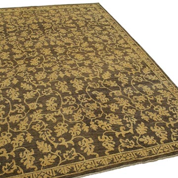 """Brown, Yellow New Hand Knotted Wool Oushak Rug - 6' 1"""" x 8' 6"""" (73 in. x 102 in.) - K0041006"""