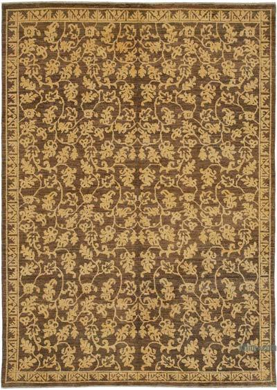 """Brown, Yellow New Hand Knotted All Wool Oushak Rug - 6' 1"""" x 8' 6"""" (73 in. x 102 in.)"""