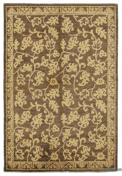 "Brown, Yellow New Hand Knotted All Wool Oushak Rug - 3' 11"" x 5' 10"" (47 in. x 70 in.)"