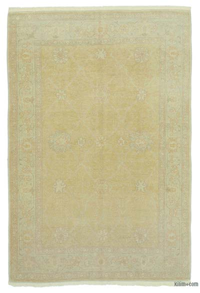 Yellow New Hand Knotted All Wool Oushak Rug - 4'  x 6'  (48 in. x 72 in.)