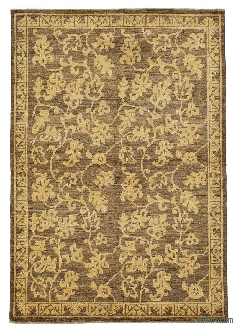 """Brown New Hand Knotted Wool Oushak Rug - 4' 1"""" x 5' 11"""" (49 in. x 71 in.) - K0041010"""