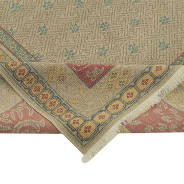 Beige, Red New Hand Knotted All Wool Oushak Rug - 6' 9# x 8' 5# (81 in. x 101 in.) - K0041013