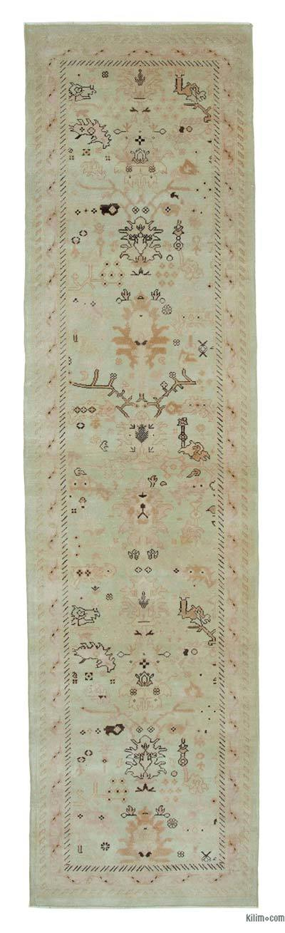 "Beige New Oushak Runner Rug - 2' 7"" x 10'  (31 in. x 120 in.)"
