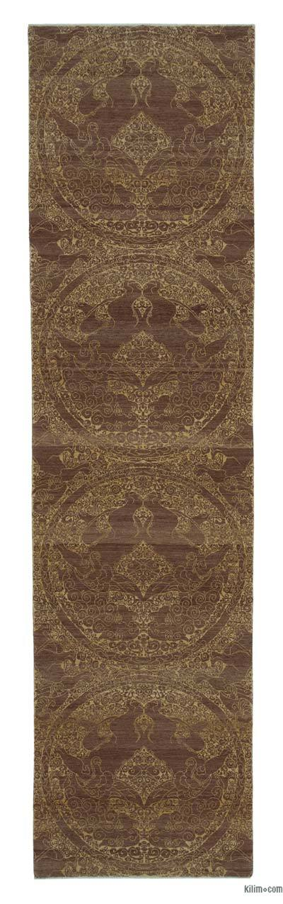 "Brown New Oushak Runner Rug - 2' 11"" x 11' 11"" (35 in. x 143 in.)"