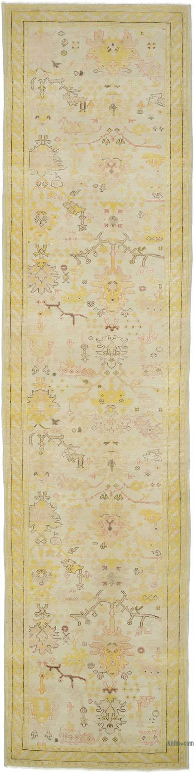 "Beige, Yellow New Oushak Runner Rug - 2' 11"" x 11' 10"" (35 in. x 142 in.)"