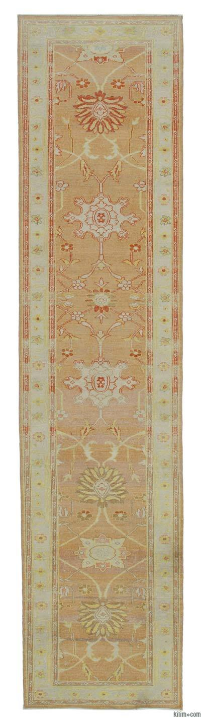 "Beige, Orange New Oushak Runner Rug - 2' 5"" x 10' 2"" (29 in. x 122 in.)"