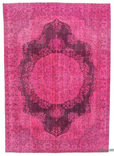 "Pink Overdyed Vintage Hand-knotted Oriental Rug - 7' 9"" x 11' 1"" (93 in. x 133 in.)"