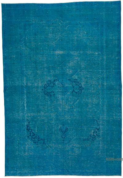 """Aqua Over-dyed Vintage Hand-knotted Oriental Rug - 9'  x 13' 1"""" (108 in. x 157 in.)"""