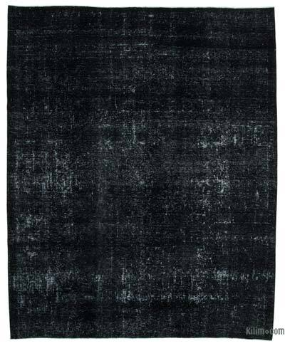 """Black Over-dyed Vintage Hand-Knotted Oriental Rug - 9' 5"""" x 11' 6"""" (113 in. x 138 in.)"""