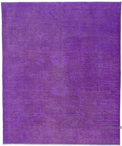 "Purple Overdyed Vintage Hand-knotted Oriental Rug - 7' 9"" x 9' 3"" (93 in. x 111 in.)"
