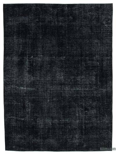 """Black Over-dyed Vintage Hand-knotted Oriental Rug - 9'  x 12' 3"""" (108 in. x 147 in.)"""
