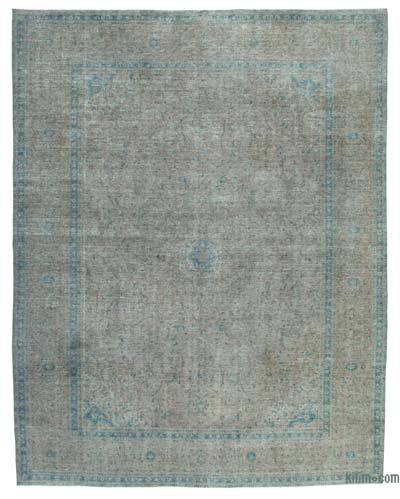 "Grey Over-dyed Vintage Hand-knotted Oriental Rug - 10'  x 12' 8"" (120 in. x 152 in.)"