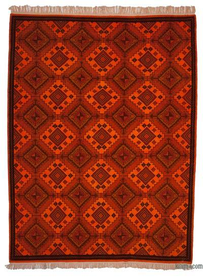 """Orange Over-dyed Vintage Hand-knotted Oriental Rug - 9' 7"""" x 12' 10"""" (115 in. x 154 in.)"""