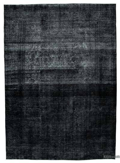 """Black Over-dyed Vintage Hand-knotted Oriental Rug - 9' 6"""" x 13' 2"""" (114 in. x 158 in.)"""
