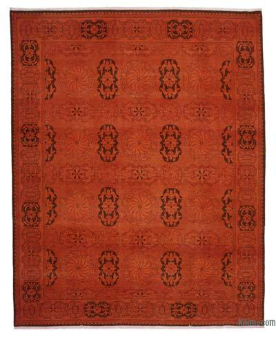 """Orange Over-dyed Vintage Hand-knotted Oriental Rug - 9' 2"""" x 11' 8"""" (110 in. x 140 in.)"""